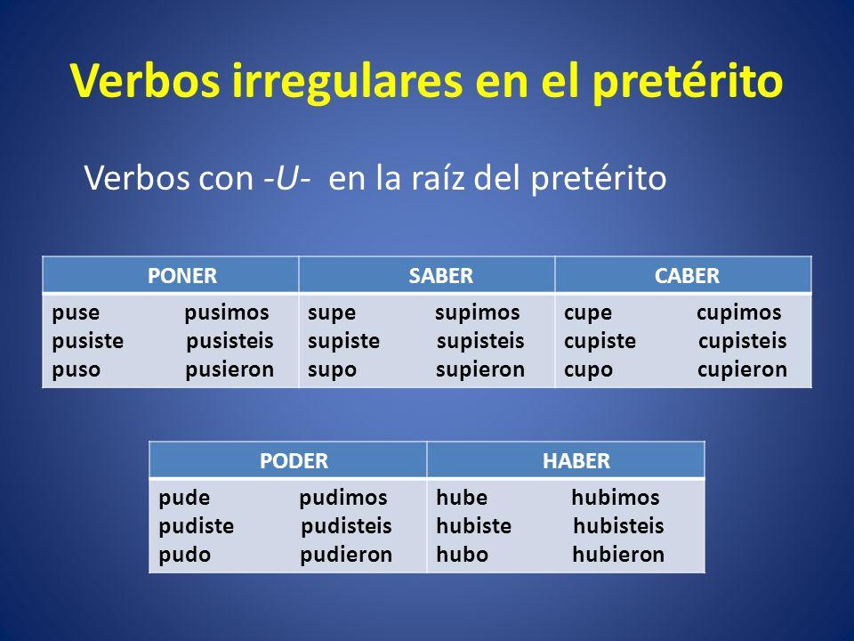 Verbos con cambios en la raíz Los verbos que cambian en la raíz en el presente indicativo de O a UE cambian en la raíz de O a U en el pretérito.