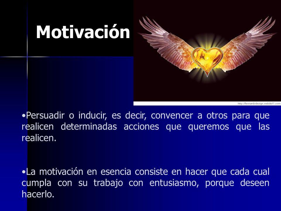 Motivación Persuadir o inducir, es decir, convencer a otros para que realicen determinadas acciones que queremos que las realicen.