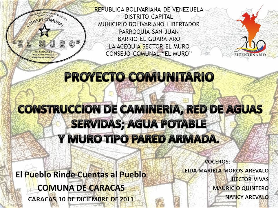 REPUBLICA BOLIVARIANA DE VENEZUELA DISTRITO CAPITAL MUNICIPIO BOLIVARIANO LIBERTADOR PARROQUIA SAN JUAN BARRIO EL GUARATARO LA ACEQUIA SECTOR EL MURO