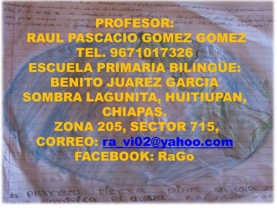 PROFESOR: RAUL PASCACIO GOMEZ GOMEZ TEL. 9671017326 ESCUELA PRIMARIA BILINGÜE: BENITO JUAREZ GARCIA SOMBRA LAGUNITA, HUITIUPAN, CHIAPAS. ZONA 205, SEC