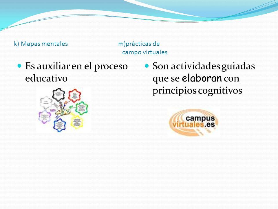 k) Mapas mentales m)prácticas de campo virtuales Es auxiliar en el proceso educativo Son actividades guiadas que se elaboran con principios cognitivos