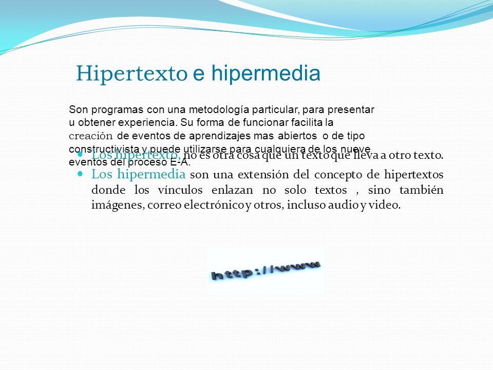 Hipertexto e hipermedia Son programas con una metodología particular, para presentar u obtener experiencia. Su forma de funcionar facilita la creación
