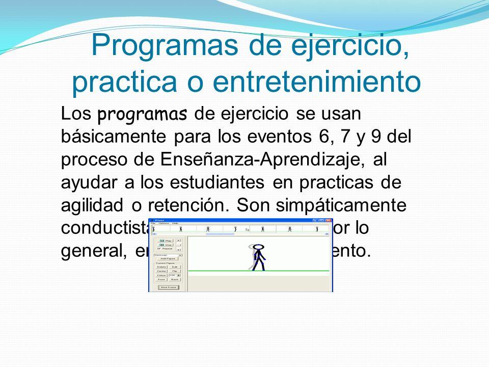 Programas de ejercicio, practica o entretenimiento Los programas de ejercicio se usan básicamente para los eventos 6, 7 y 9 del proceso de Enseñanza-A