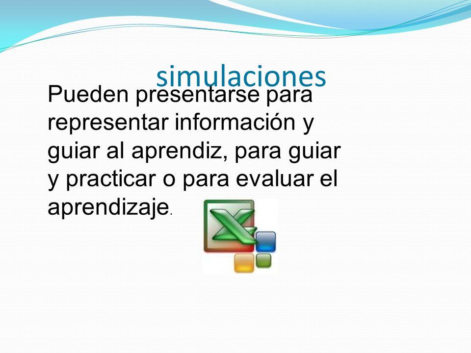 Juegos educativos Pueden combinarse con programas de entretenimiento o con simulaciones.