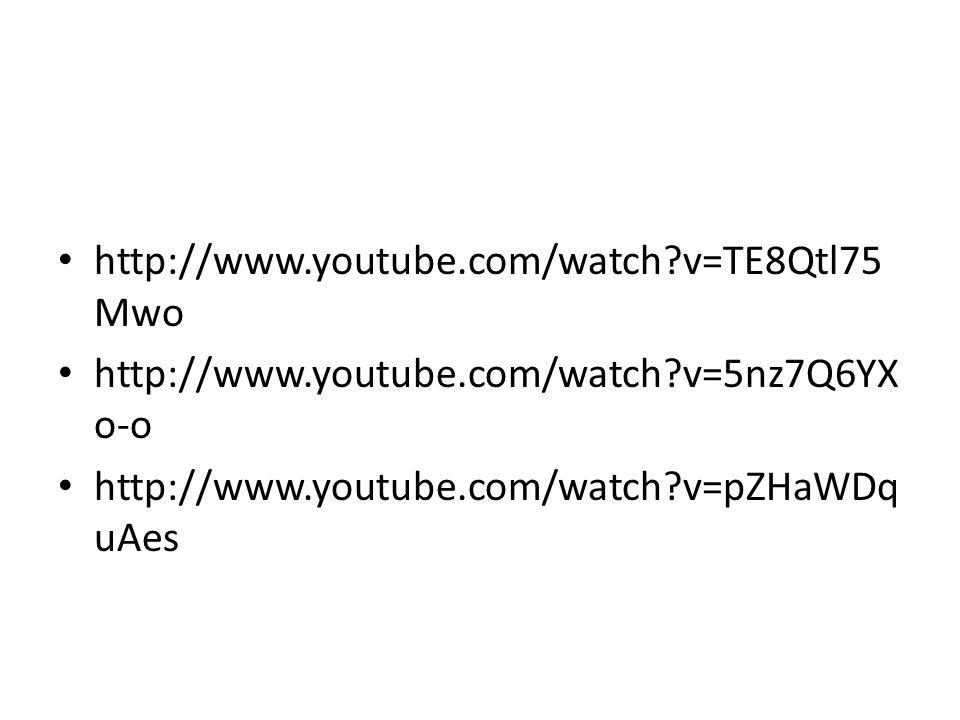 http://www.youtube.com/watch?v=TE8Qtl75 Mwo http://www.youtube.com/watch?v=5nz7Q6YX o-o http://www.youtube.com/watch?v=pZHaWDq uAes