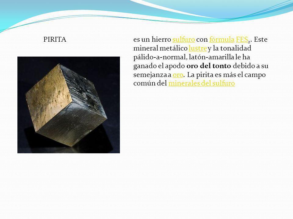 PIRITAes un hierro sulfuro con fórmula FES 2. Este mineral metálico lustre y la tonalidad pálido-a-normal, latón-amarilla le ha ganado el apodo oro de
