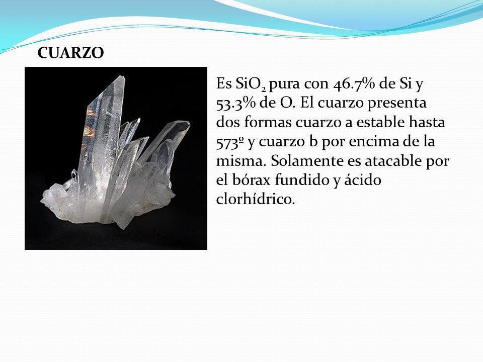 CUARZO Es SiO 2 pura con 46.7% de Si y 53.3% de O. El cuarzo presenta dos formas cuarzo a estable hasta 573º y cuarzo b por encima de la misma. Solame