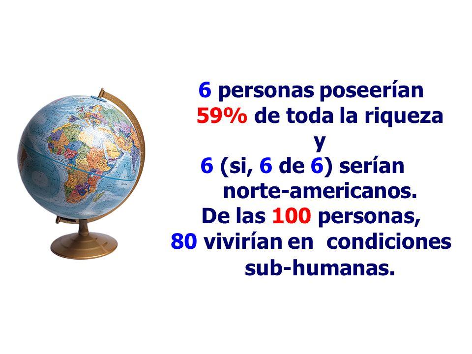 6 personas poseerían 59% de toda la riqueza y 6 (si, 6 de 6) serían norte-americanos.