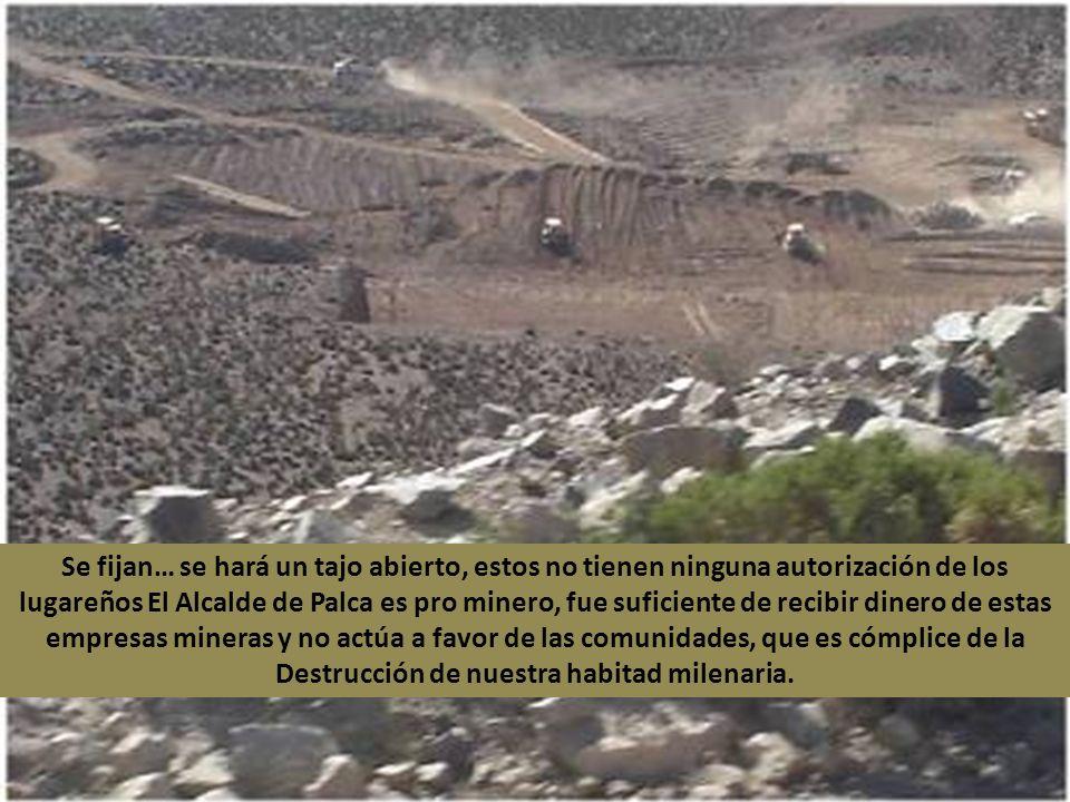 Esto contaminará a toda la zona altoandina en este momento esta causando polvos donde contamina a la alimentación de los animales, estos lugares son de pastoreo.