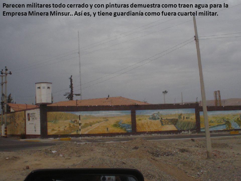 Parecen militares todo cerrado y con pinturas demuestra como traen agua para la Empresa Minera Minsur..