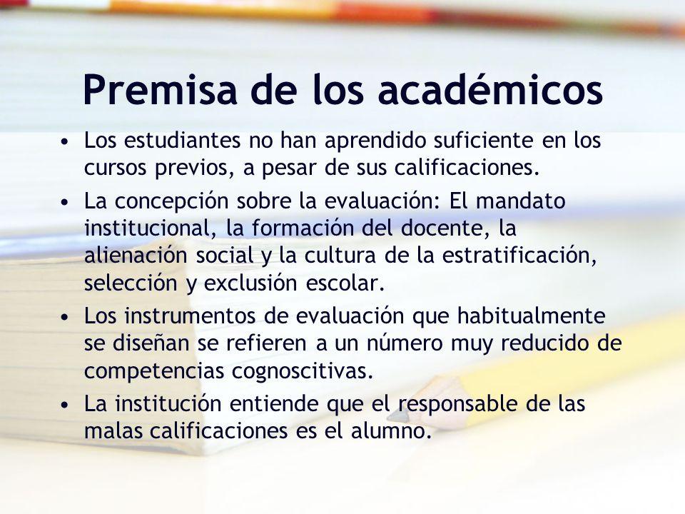 Premisa de los académicos Los estudiantes no han aprendido suficiente en los cursos previos, a pesar de sus calificaciones. La concepción sobre la eva
