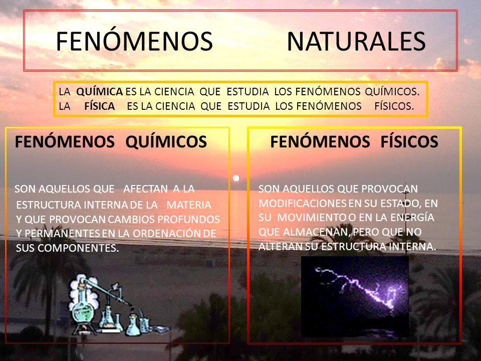 FENÓMENOS NATURALES FENÓMENOS FÍSICOS SON AQUELLOS QUE PROVOCAN MODIFICACIONES EN SU ESTADO, EN SU MOVIMIENTO O EN LA ENERGÍA QUE ALMACENAN, PERO QUE