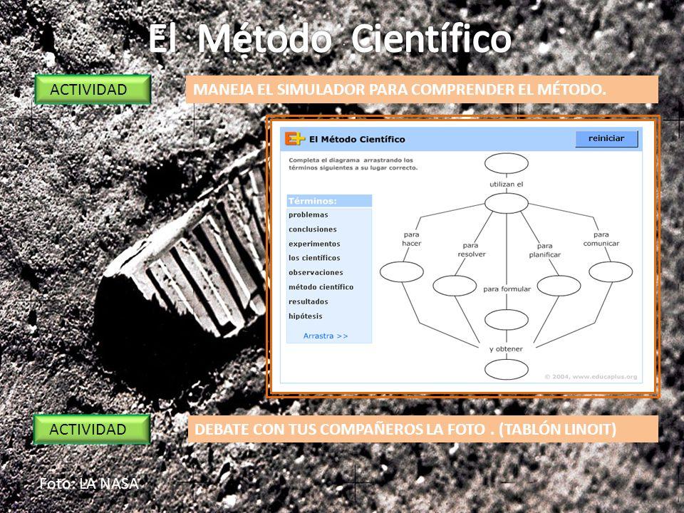 Foto: LA NASA ACTIVIDAD MANEJA EL SIMULADOR PARA COMPRENDER EL MÉTODO. DEBATE CON TUS COMPAÑEROS LA FOTO. (TABLÓN LINOIT)
