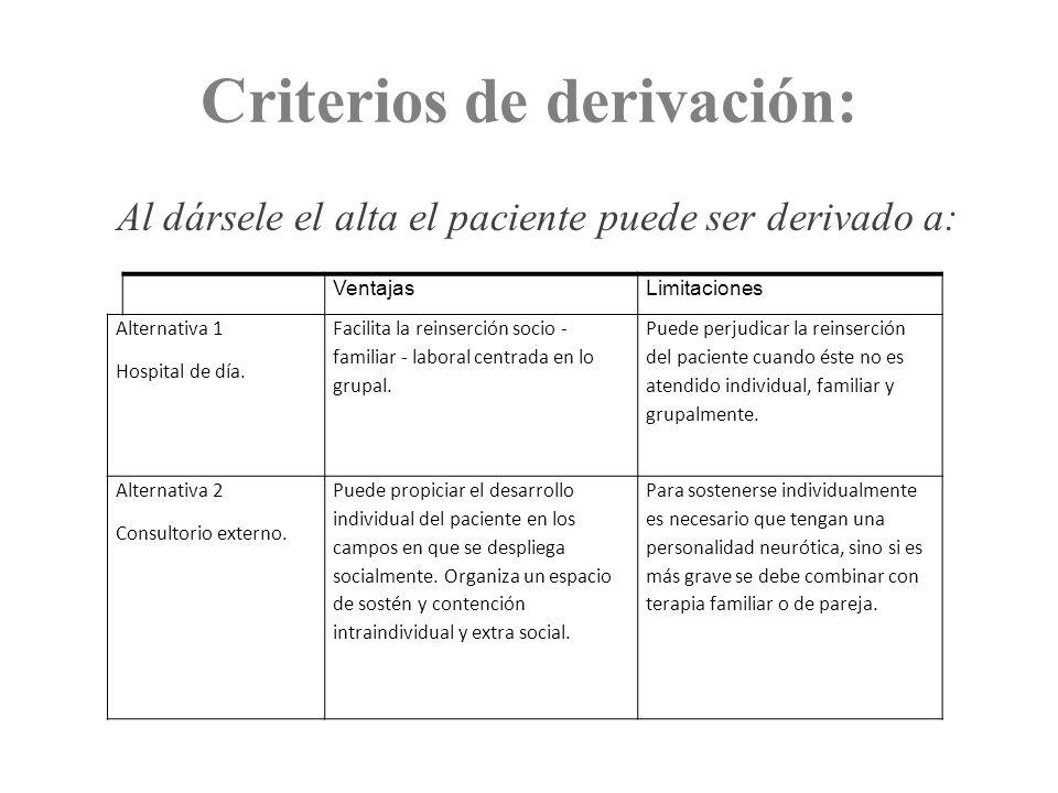 Criterios de derivación: Al dársele el alta el paciente puede ser derivado a: VentajasLimitaciones Alternativa 1 Hospital de día. Facilita la reinserc