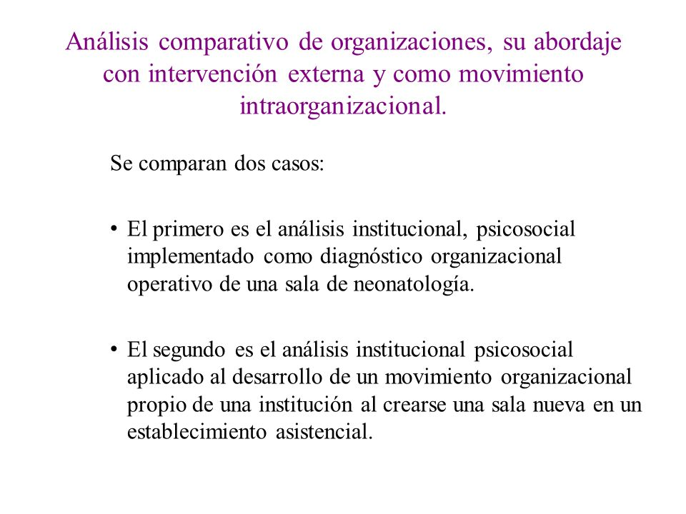 Análisis comparativo de organizaciones, su abordaje con intervención externa y como movimiento intraorganizacional. Se comparan dos casos: El primero