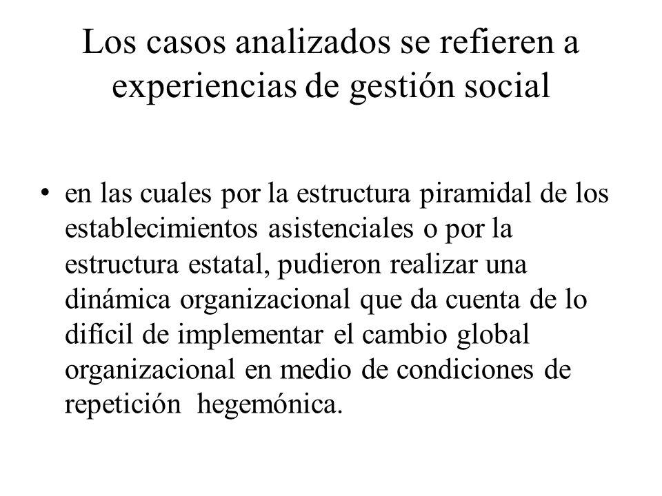 Los casos analizados se refieren a experiencias de gestión social en las cuales por la estructura piramidal de los establecimientos asistenciales o po