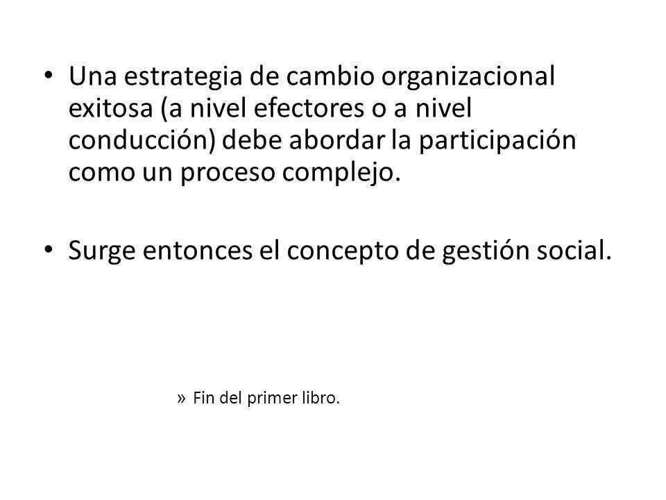 Una estrategia de cambio organizacional exitosa (a nivel efectores o a nivel conducción) debe abordar la participación como un proceso complejo. Surge