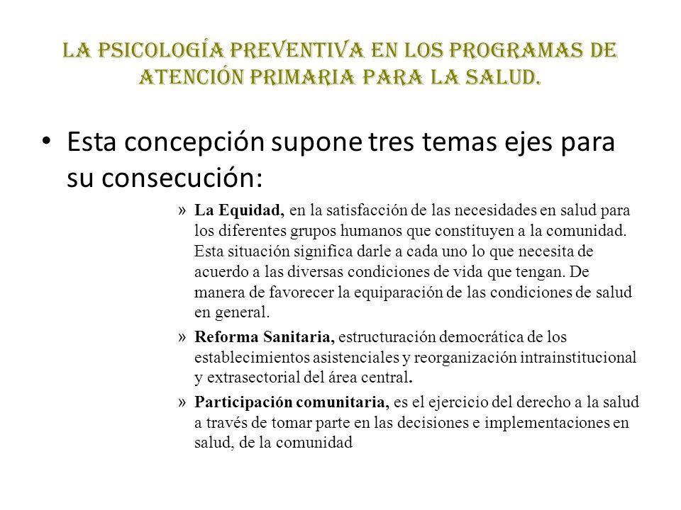 La Psicología Preventiva en los programas de atención primaria para la salud. Esta concepción supone tres temas ejes para su consecución: » La Equidad