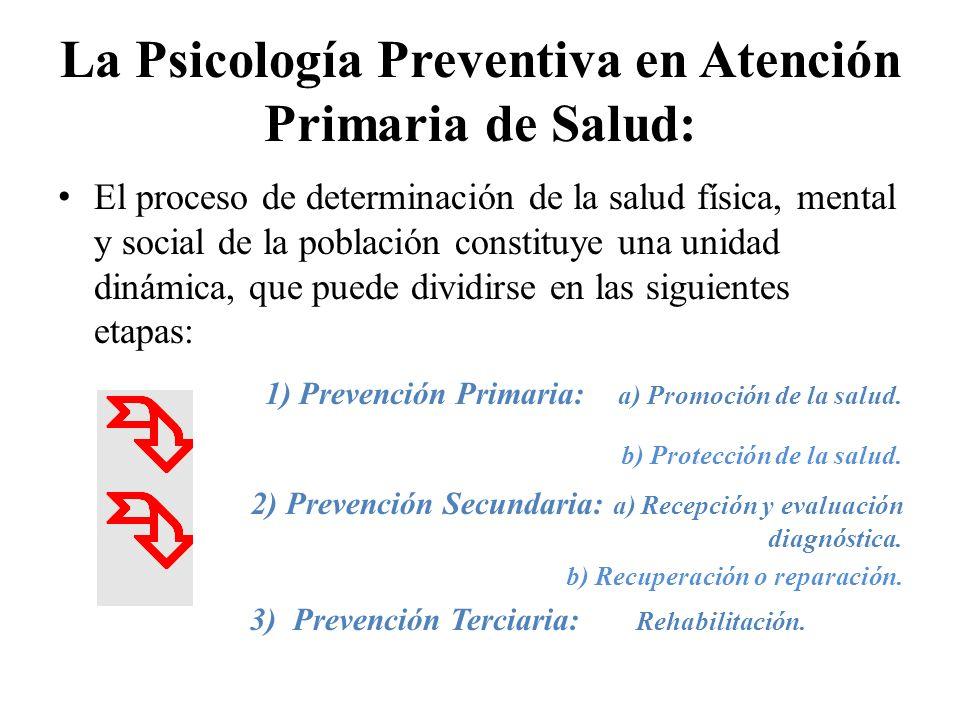 La Psicología Preventiva en Atención Primaria de Salud: El proceso de determinación de la salud física, mental y social de la población constituye una