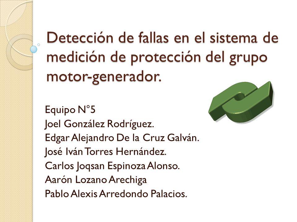 Detección de fallas en el sistema de medición de protección del grupo motor-generador. Equipo N°5 Joel González Rodríguez. Edgar Alejandro De la Cruz