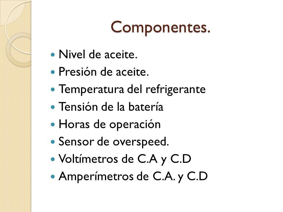 Componentes. Nivel de aceite. Presión de aceite. Temperatura del refrigerante Tensión de la batería Horas de operación Sensor de overspeed. Voltímetro