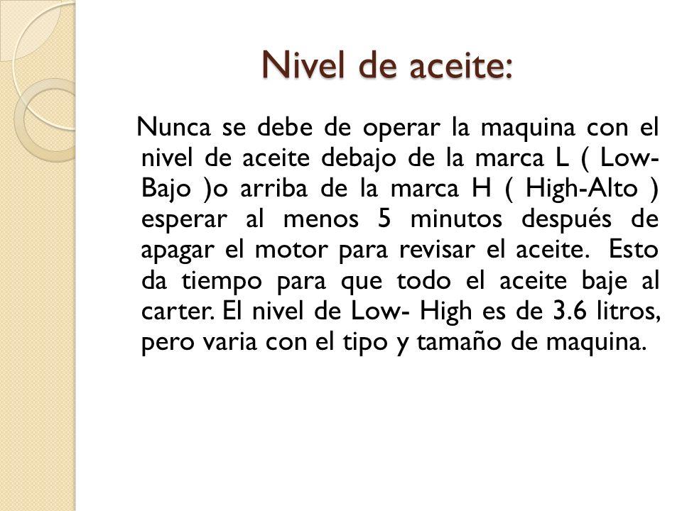 Nivel de aceite: Nunca se debe de operar la maquina con el nivel de aceite debajo de la marca L ( Low- Bajo )o arriba de la marca H ( High-Alto ) espe