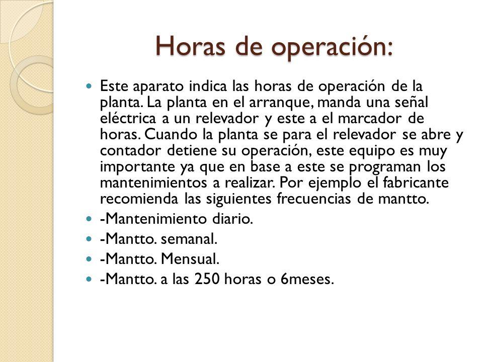 Horas de operación: Este aparato indica las horas de operación de la planta.