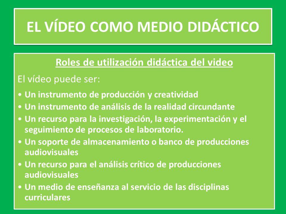 Roles de utilización didáctica del video El vídeo puede ser: Un instrumento de producción y creatividad Un instrumento de análisis de la realidad circundante Un recurso para la investigación, la experimentación y el seguimiento de procesos de laboratorio.