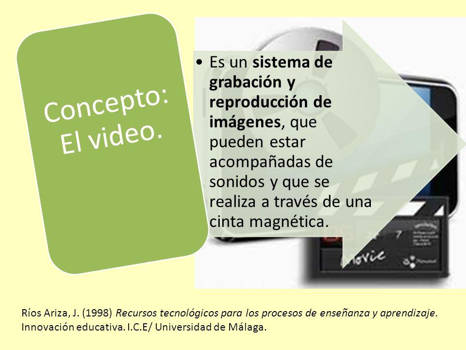 Es un sistema de grabación y reproducción de imágenes, que pueden estar acompañadas de sonidos y que se realiza a través de una cinta magnética.