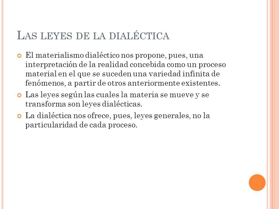 M ARX Y E NGELS ENUNCIAN LAS SIGUIENTES TRES LEYES DE LA DIALÉCTICA : Ley de la unidad y lucha de contrarios.