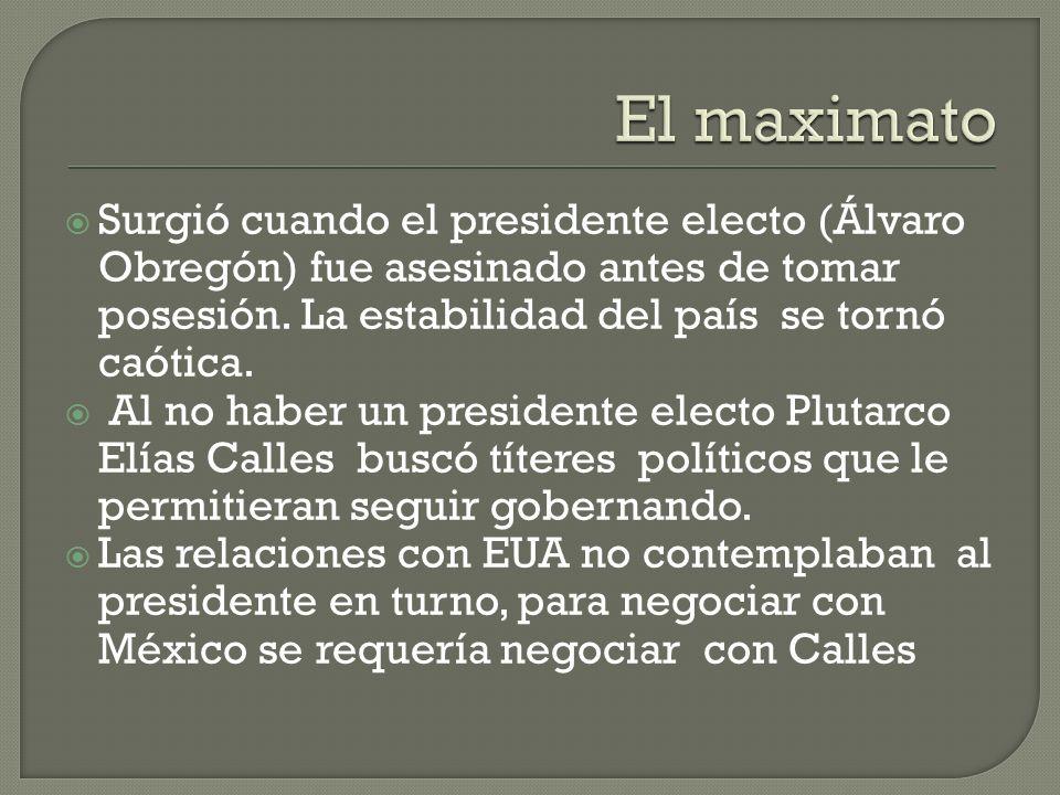 Surgió cuando el presidente electo (Álvaro Obregón) fue asesinado antes de tomar posesión. La estabilidad del país se tornó caótica. Al no haber un pr