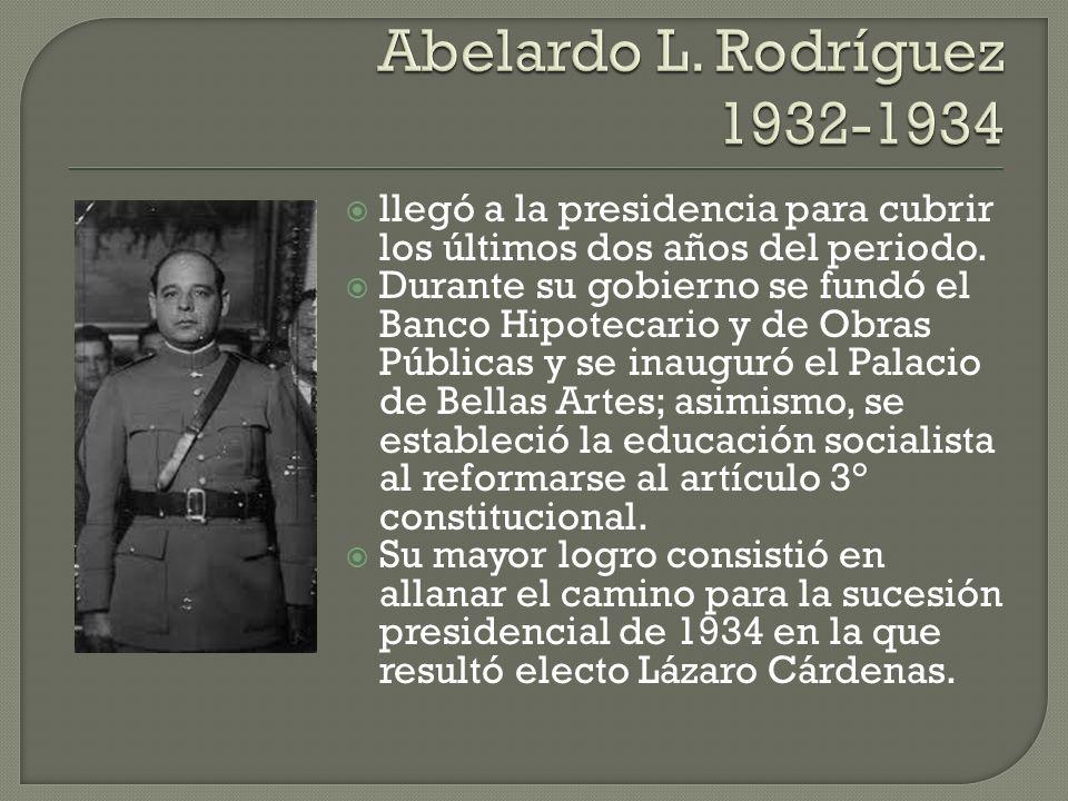 llegó a la presidencia para cubrir los últimos dos años del periodo. Durante su gobierno se fundó el Banco Hipotecario y de Obras Públicas y se inaugu