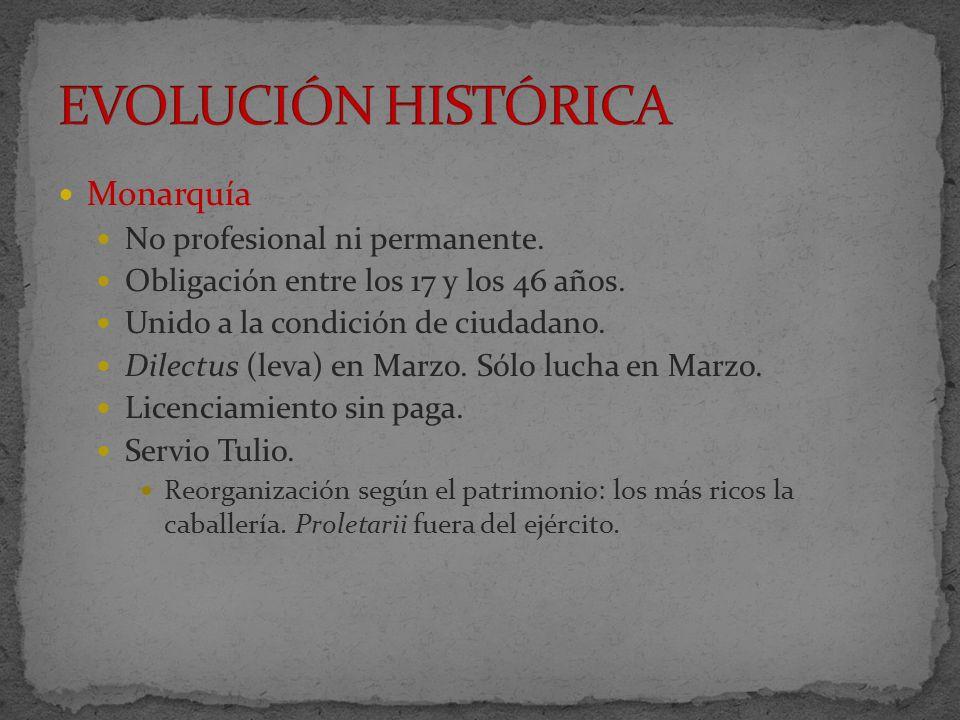 República Con las guerra samnitas cambio de falange a manípulos y centurias Reforma de Mario a finales del s.