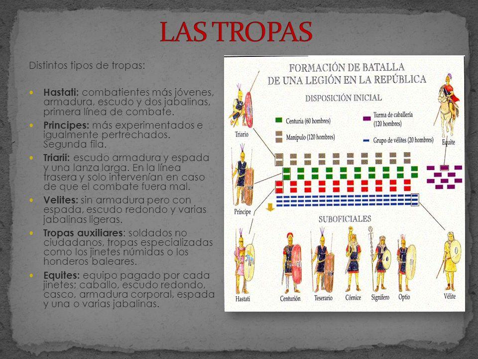 Distintos tipos de tropas: Hastati: combatientes más jóvenes, armadura, escudo y dos jabalinas, primera línea de combate. Principes: más experimentado