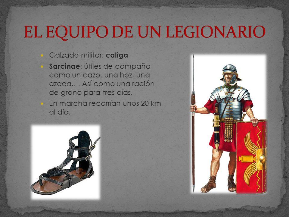 Calzado militar: caliga Sarcinae : útiles de campaña como un cazo, una hoz, una azada...
