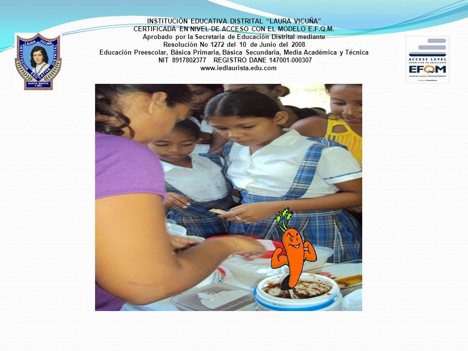 OBJETIVO GENERAL Implementar en la Institución Educativa Distrital Laura Vicuña, Sede 2 Lorencita Villegas de Santos un proyecto transversal e interdisciplinario en torno al disfrute de la escuela de los niños y niñas en un entorno saludable que haga fácil la construcción de saberes teniendo como base el arte de alimentarse bien.