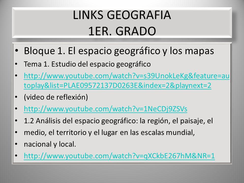 LINKS GEOGRAFIA 1ER. GRADO Bloque 1. El espacio geográfico y los mapas Tema 1. Estudio del espacio geográfico http://www.youtube.com/watch?v=s39UnokLe