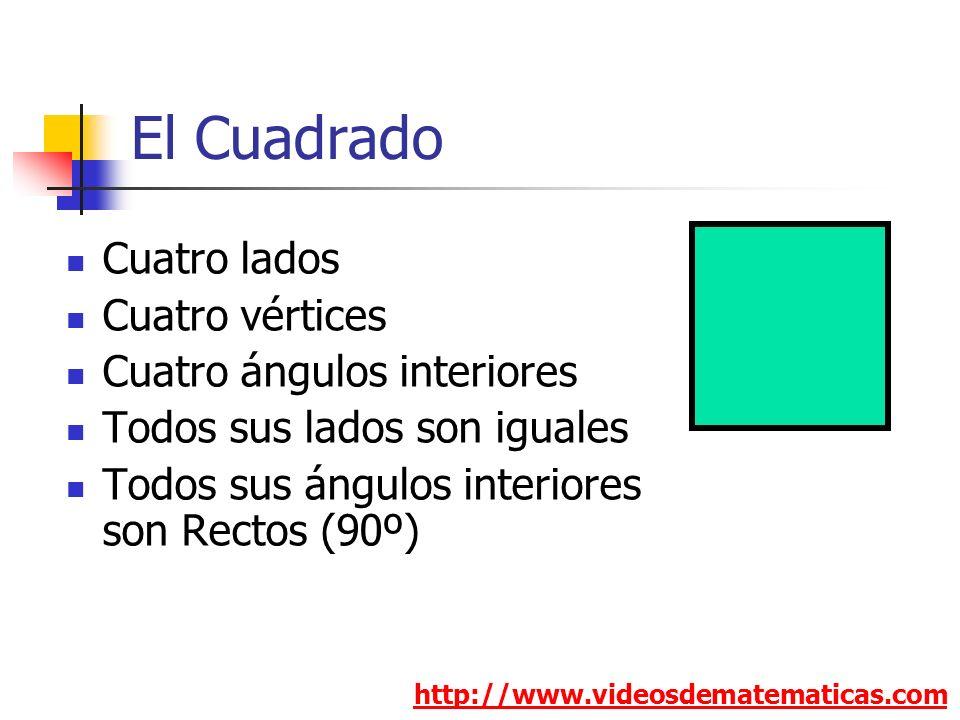 El Cuadrado http://www.videosdematematicas.com Cuatro lados Cuatro vértices Cuatro ángulos interiores Todos sus lados son iguales Todos sus ángulos in