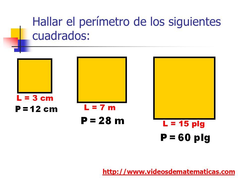 Hallar el perímetro de los siguientes cuadrados: http://www.videosdematematicas.com L = 3 cm L = 7 m L = 15 plg
