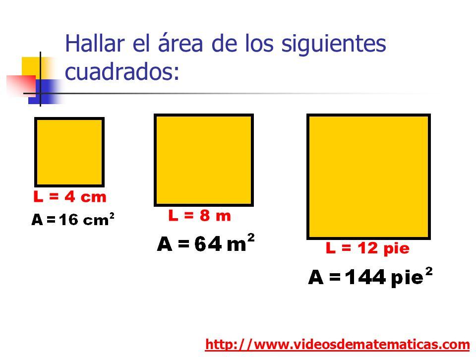 Hallar el área de los siguientes cuadrados: http://www.videosdematematicas.com L = 4 cm L = 8 m L = 12 pie