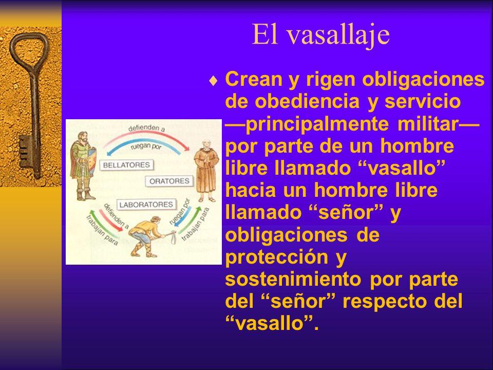 El vasallaje Crean y rigen obligaciones de obediencia y servicio principalmente militar por parte de un hombre libre llamado vasallo hacia un hombre l