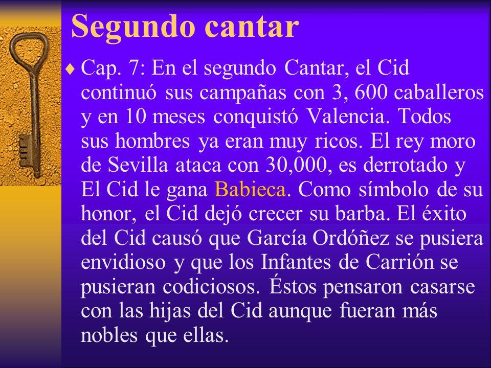 Segundo cantar Cap. 7: En el segundo Cantar, el Cid continuó sus campañas con 3, 600 caballeros y en 10 meses conquistó Valencia. Todos sus hombres ya