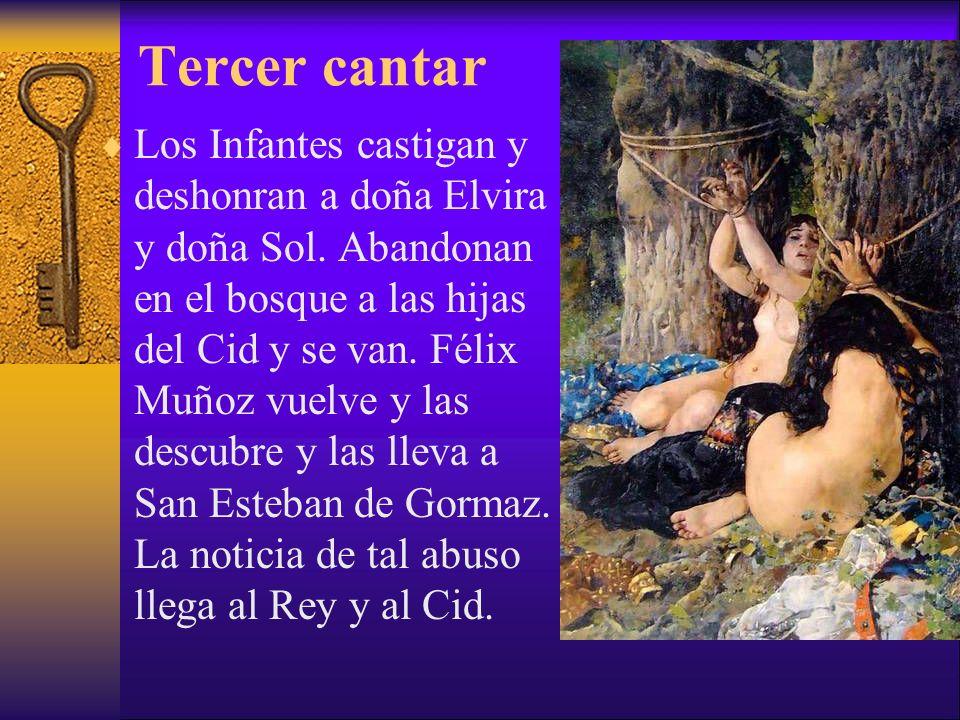 Tercer cantar Los Infantes castigan y deshonran a doña Elvira y doña Sol. Abandonan en el bosque a las hijas del Cid y se van. Félix Muñoz vuelve y la