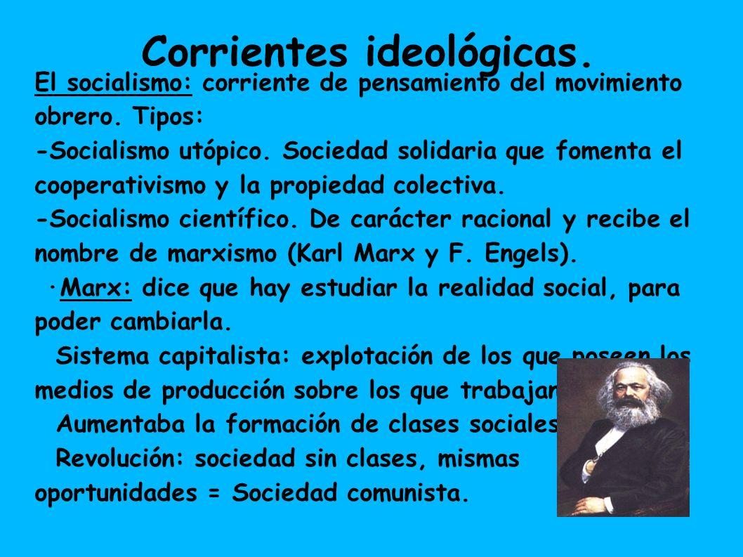 Corrientes ideológicas.El socialismo: corriente de pensamiento del movimiento obrero.