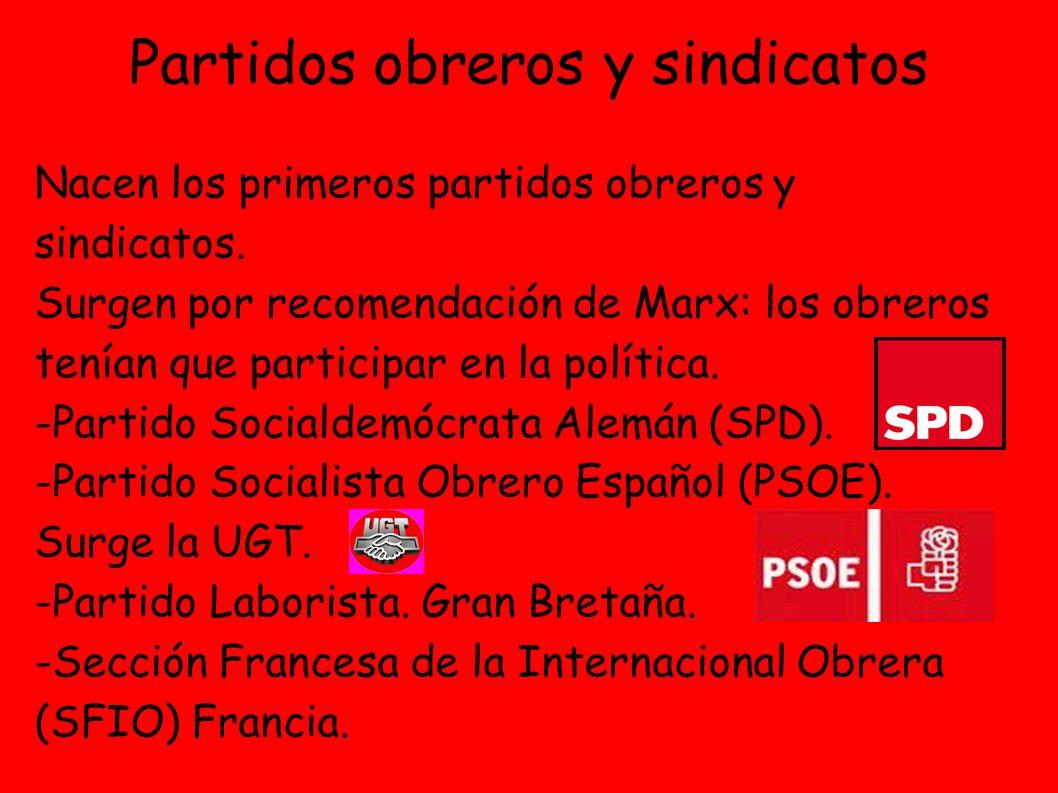 Partidos obreros y sindicatos Nacen los primeros partidos obreros y sindicatos.