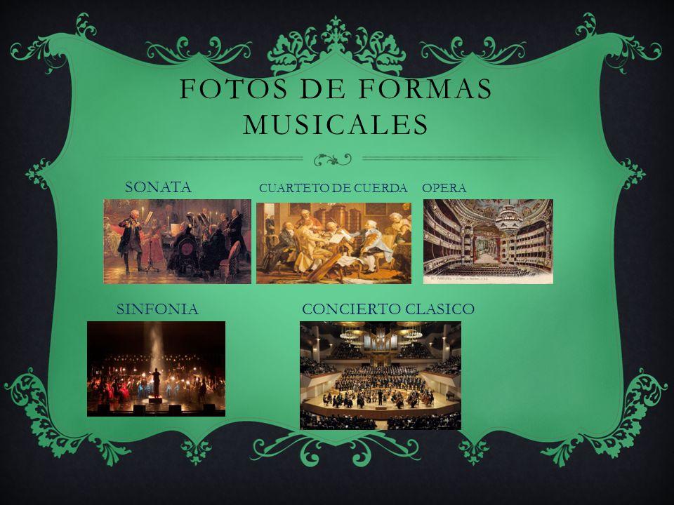 FORMAS MUSICALES (2) OPERA, drama en el cual se canta todo o parte del diálogo y que contiene oberturas, interludios y acompañamientos instrumentales.