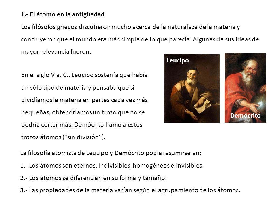 1.- El átomo en la antigüedad Los filósofos griegos discutieron mucho acerca de la naturaleza de la materia y concluyeron que el mundo era más simple