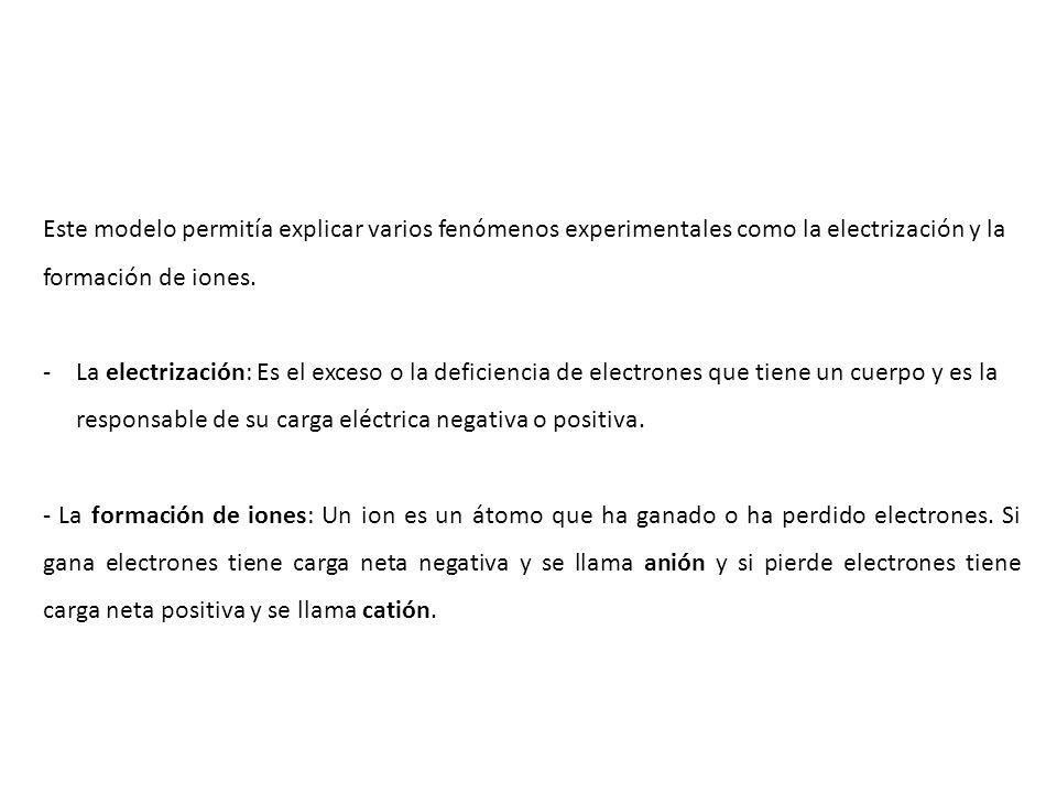 Este modelo permitía explicar varios fenómenos experimentales como la electrización y la formación de iones. -La electrización: Es el exceso o la defi