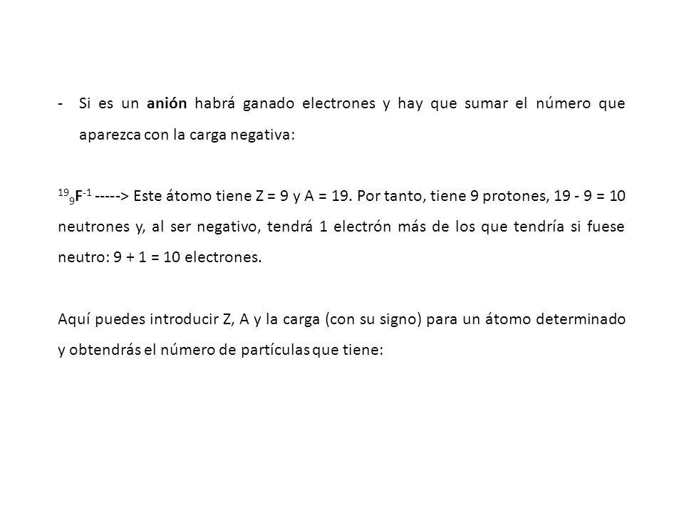 -Si es un anión habrá ganado electrones y hay que sumar el número que aparezca con la carga negativa: 19 9 F -1 -----> Este átomo tiene Z = 9 y A = 19