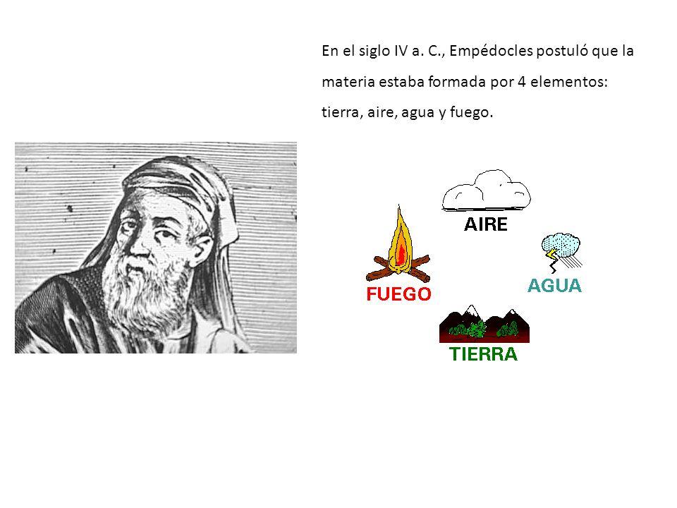 En el siglo IV a. C., Empédocles postuló que la materia estaba formada por 4 elementos: tierra, aire, agua y fuego.